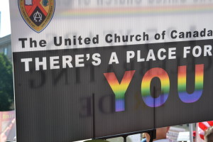 UCC placard at World Pride, 2014